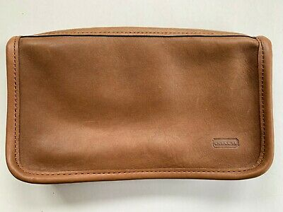 Vintage Coach Slim Clutch Standard Zip Wristlet Brown Leather Pouch Cosmetic