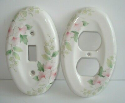 Matching Porcelain Wall Cover Plates Light Switch & Electric Outlet Cover Oval