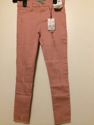 Girls Primark Light Pink Denim Fray Skinny Jeans Age 8-9 Years Bnwt