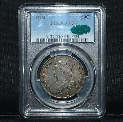 1824 Capped Bust Half Dollar ✪ Pcgs Au-55 Cac ✪ 50C Silver About Unc ◢Trusted◣