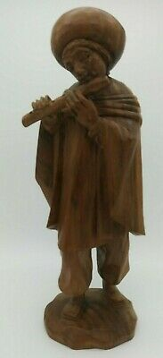 """Wooden Hand Carved Man Playing Flute Instrument 12"""" Tall"""