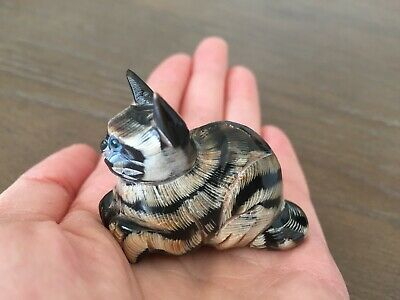 Vintage Antique Hand Carved Black Coral Crawling Cat Figurine Miniature Chinese