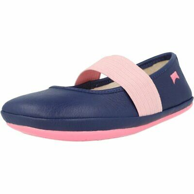 Camper Right Navy Leather Child Ballet Flats Shoes