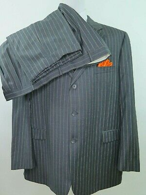 Jack Victor International Wool Gray Striped Two Piece Men Suit 45x30 48 R Canada