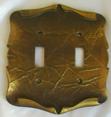 Vintage Amerock Carriage House Double Switch Plate Cover Antique Brass 1970s