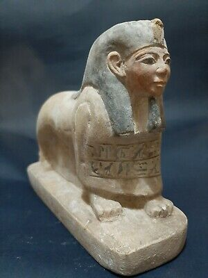 Rare ANCIENT EGYPTIAN ANTIQUES Limestone Lion With Human Head Ushabti 332 BC
