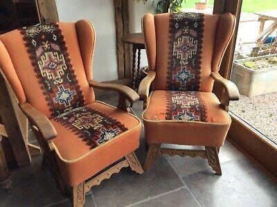 Pair Gothic, Arts And Craft Oak And Upholstered Wing Chairs