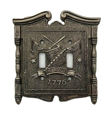 Vintage Metal Fyfe & Drum 1776 Light Switch Double Cover American Tack & Hdwe a1