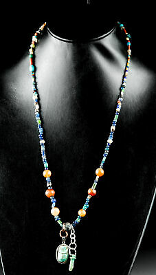 Roman Glass & Stone Necklace & Egyptian Faience Amulets