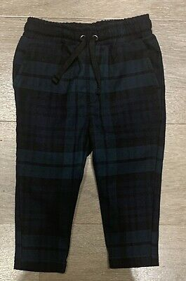 River Island Mini Boys Trousers Tartan Green And Blue 9-12 Months