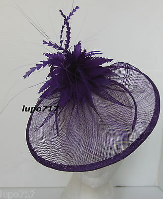 Purple Hat Feathers Sinamay Fascinator Wedding Ascot Race Hen Party Ladies Day