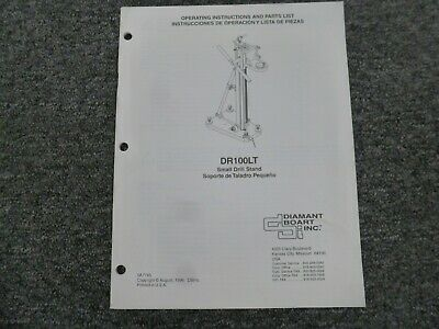 Diamant Boart DR100LT Small Drill Stand Parts Catalog & Owner Operator Manual