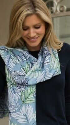 Peony Garden Fern Blue Ladies Summer Scarf Mothers Day Gift
