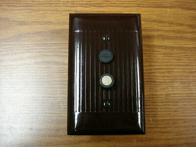 Vintage Uniline Brown Push Button Switch Wall Cover Plate Single Gang Sierra