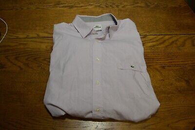 LACOSTE Long-Sleeve Button Front Pink/White Stripe Shirt Size 44 Cotton