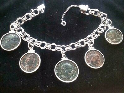 Ancient Roman Authentic 5 Coins Charm Sterling Silver Bracelet High Grade #1111