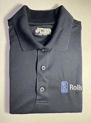 ROLLS ROYCE Logo Left Chest Black Polo Shirts Embroidered Sizes S-4XL Non Iron