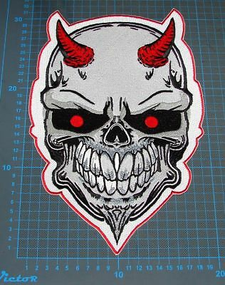 "Head skull huge 13"" skull motorcycle jacket patches sew on embroidery"