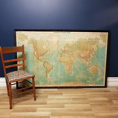 FREE DELIVERY - Very Large Vintage World Map Ex School Classroom, Wooden Frame