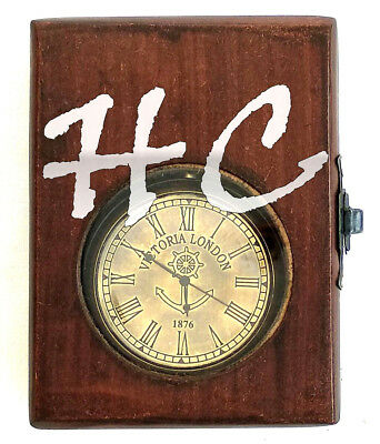Nautical Brass Victoria London Dial Marine Antique Pocket Watch With Wooden Box