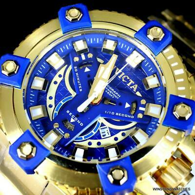 Invicta Coalition Grand Octane 63mm Gold Plated Steel Swiss Mvt Blue Watch New