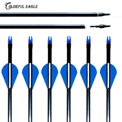 "30/"" 6pc Fiberglass Hunting Arrows Blue White Vanes SP500 F Compound Bow Shooting"
