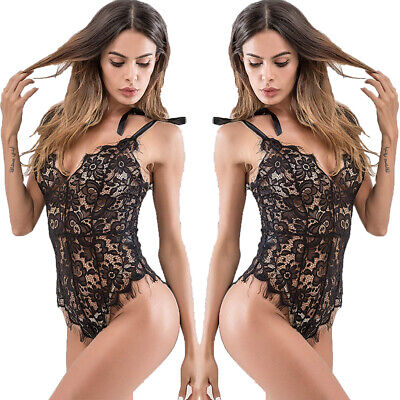 Women's See Through Floral Black Lace Babydoll Sexy Lingerie One Piece Bodysuit