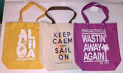Margaritaville Canvas Tote Bag Shopping Carryall Travel Purple Yellow Natural