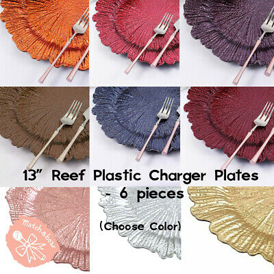 """6x 12/"""" Reef Design Gray Acrylic Plastic Charger Plate Shiny Finish Charger"""