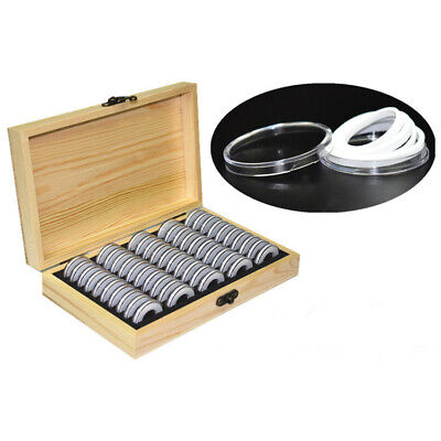 Coin Storage Box Wooden 50pcs Grid Commemorative Universal Collection Holders