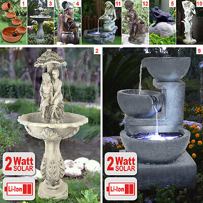Solar Water Feature Solar Fountain Garden Solar Powered Outdoor Cascade Pump Led