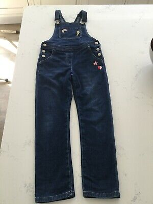 Mini Boden Girls Blue Denim Dungarees Age 7-8 JeAns Patches Hearts Rainbow Vgc