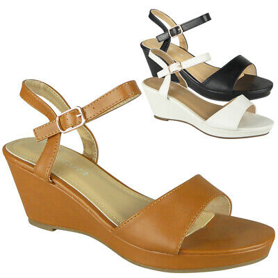 Womens Wedge Sandals Open Toe Ladies Summer Strap Buckle Heels Comfy Shoes Size