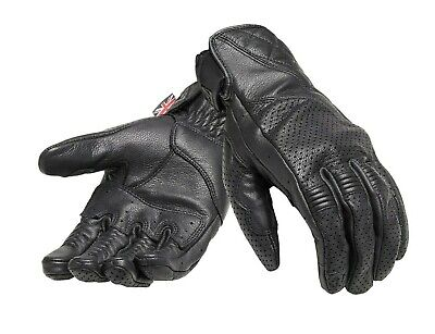 Triumph Raven Gloves Black Leather Motorcycle Gloves NEW MGVS17322