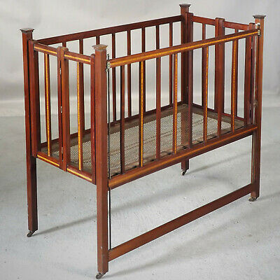 Antique Mahogany Folding Cot (delivery available) Edwardian - C1910 - Inlay