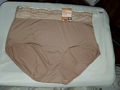 Vtg Nwt No Muffin Top Warner's Microfiber W/Lace Brief S-9 2Xl Nude Flattering