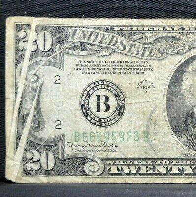 1934-D $20 Federal Reserve Error Note ✪ Triple Gutter Fold ✪ Ny 923 ◢Trusted◣