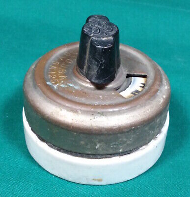 Vintage GE Rotary Light Switch - Brass /Porcelain - Round Single-Pole Turn Knob