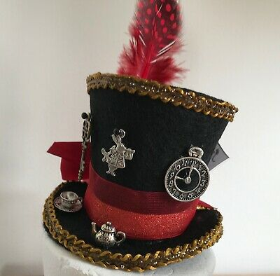 Mad Hatter Inspired mini top hat fascinator with Alice Charms