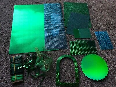 Sparkly Green Bundle - Card - Ribbon - Layering - Frame -  Holographic Glittery