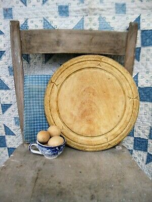 Antique Carved Round Wood Bread Board Original Surface Free Shipping
