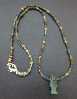 NILE  Ancient Egyptian Anubis Amulet Mummy Bead Necklace ca 1000 BC