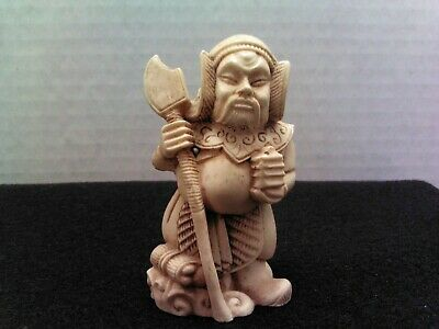 "Carved Oriental Figurine 3"" Solider Please See All Pic's"