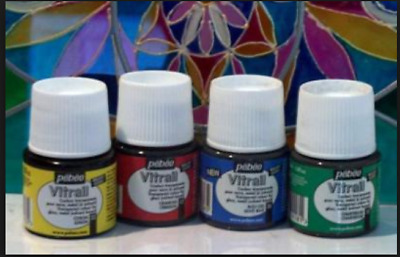 GLASS PAINT Solvent No Bake ANTIQUE COLOURS 45 ml PEBEO VITRAIL Stained Glass