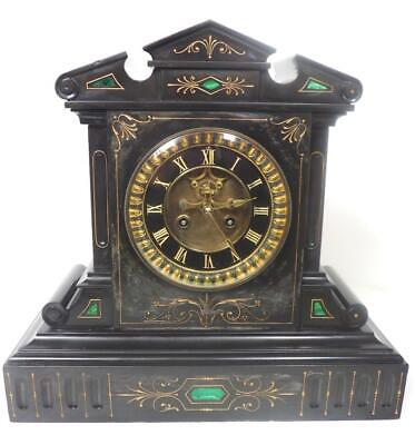 Antique French Mantel Clock Malachite Inlay Architectural Slate Mantle Clock