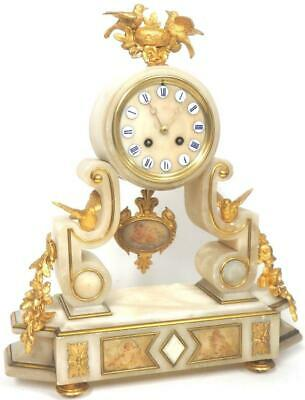 French Marble Portico Mantel Clock 8 Day Bird Bell Striking Mantle Clock c1890