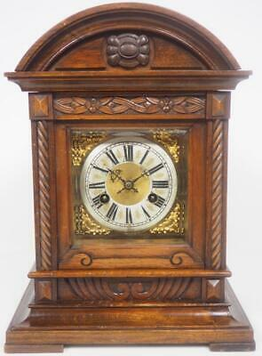 Antique 1/4 Striking Bracket Clock Junghans 8 Day Ting Tang Mantel Clock c1895