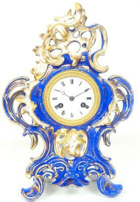 French Sevres Porcelain Mantel Clock 8 Day Figural bell Striking Mantle Clock