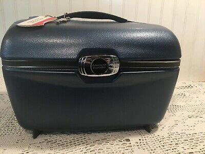 Vintage Blue American Tourister Train Makeup Cosmetic Case Mirror Tray Keys