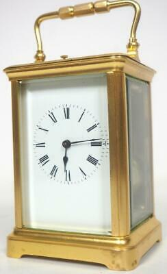 Antique French 8 Day Carriage Clock Fine Gilt Brass Repeater French Mantel Clock